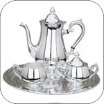 Pewter and Silver Tea Sets