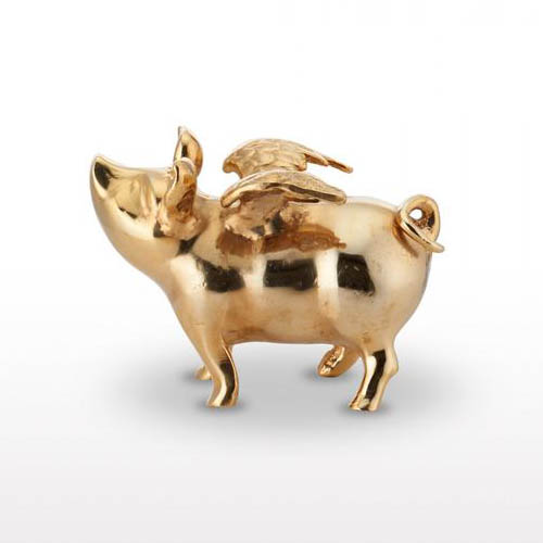 Lunares Pigs Do Fly Piggy Bank Goldplate