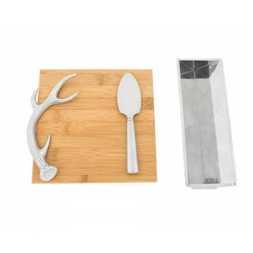 Arthur Court Antler Bamboo Cheese Board and Serving Set - Available at SilverGallery.com
