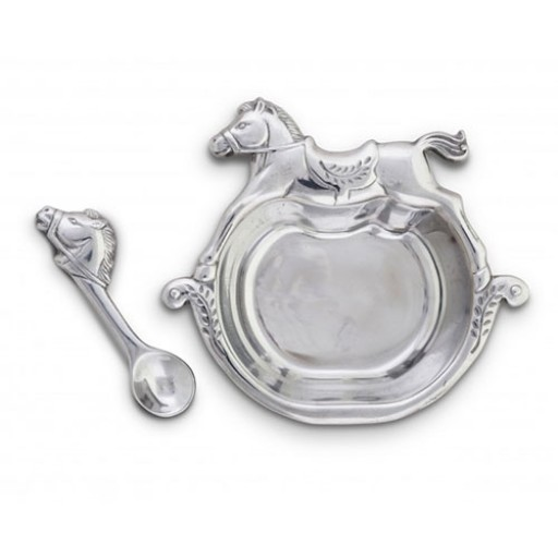 Arthur Court Rocking Horse Personalized Baby Gift Set - Engrave it at SilverGallery.com