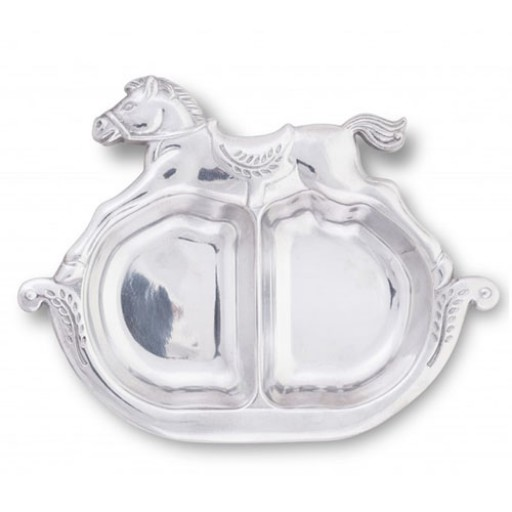 Arthur Court Rocking Horse Divided Baby Plate - Engrave it at SilverGallery.com