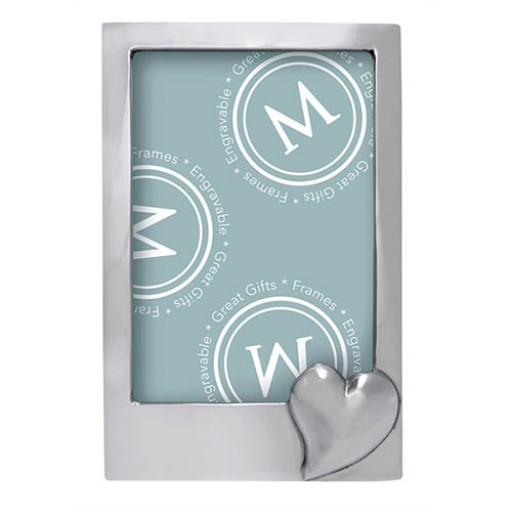 Mariposa Vertical Heart Frame - 5 x 7 - Engrave it at SilverGallery.com