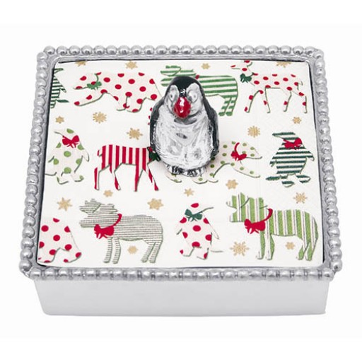 Mariposa Penguin Napkin Box - Available from SilverGallery.com