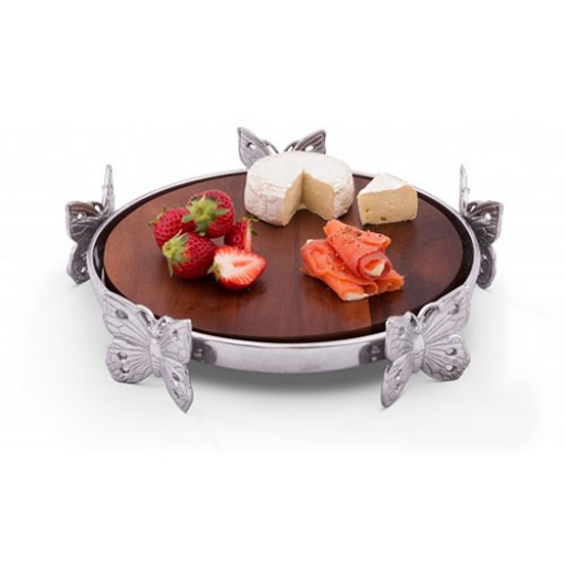 Arthur Court Butterfly Wooden Cheese Pedestal - Available from SilverGallery.com