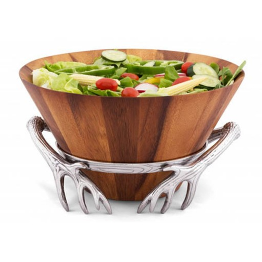 Arthur Court Antler Wood Tall Salad Bowl - Available from SilverGallery.com