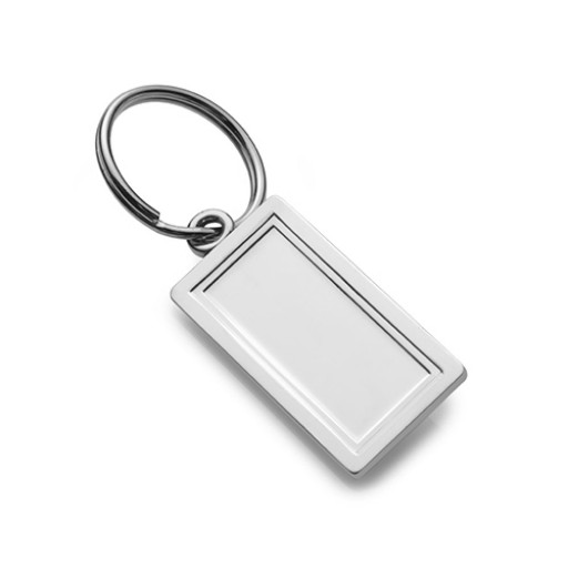 Engravable Sterling Silver Rectangle Key Holder Ring Keychain Personalized Engraved Monogram Groomsmen Best Man Gift