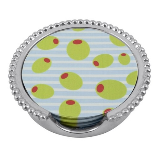Mariposa Olives Beaded Coaster Set