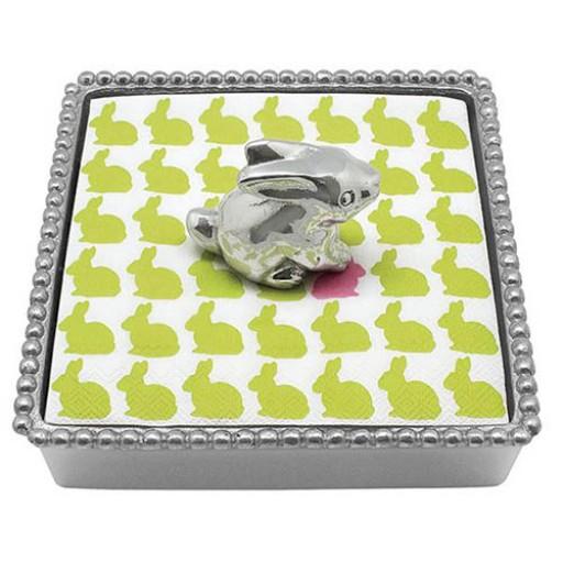 Mariposa Bunny Beaded Napkin Box
