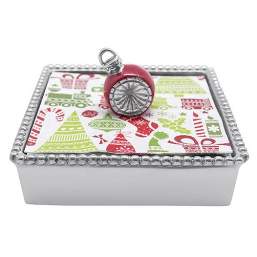Mariposa Beaded Red Ornament Napkin Box - Available from SilverGallery.com!