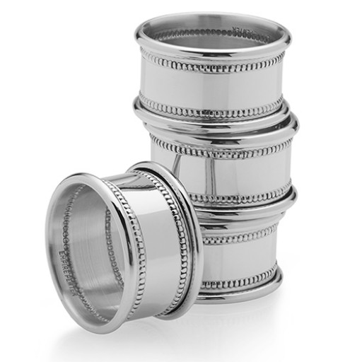 Empire Pewter Beaded Napkin Rings - Set of 4 - Engrave yours at SilverGallery.com