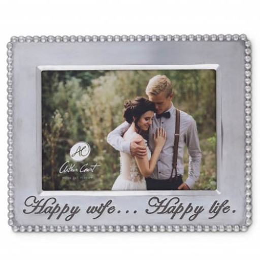 Arthur Court Horizontal Beaded Happy Wife Happy Life Frame - 5 x 7