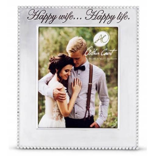 "Arthur Court Vertical Beaded ""Happy Wife...Happy Life"" Frame - 8 x 10"