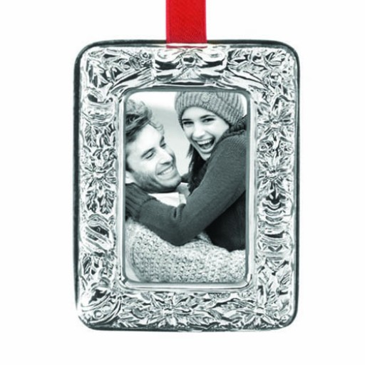 Reed & Barton Poinsettia Sterling Silver Picture Frame Ornament - Available from SilverGallery.com