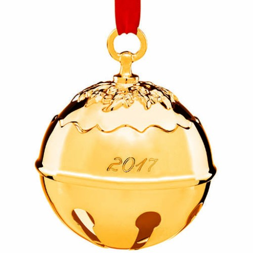 Reed & Barton 2017 Holly Bell Ornament - Goldplate - Available from SilverGallery.com!