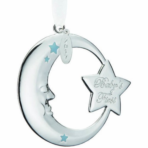 Reed & Barton 2017 Baby's 1st Christmas Crescent Moon Ornament - Blue - Available from SilverGallery.com