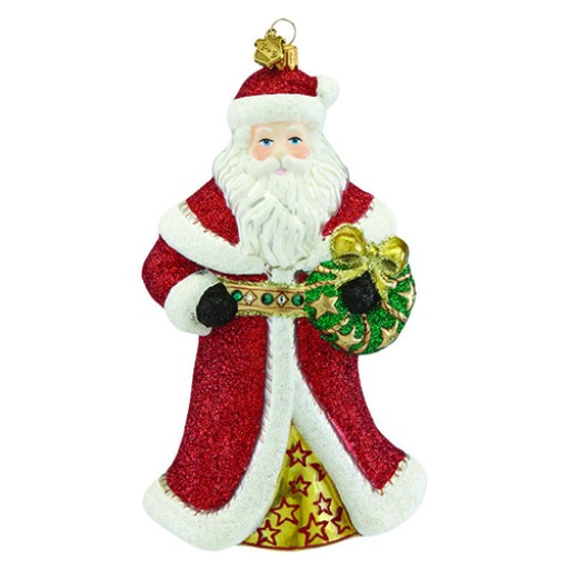 Reed & Barton Santa & Wreath Figural Glass Ornament - Available from SilverGallery.com