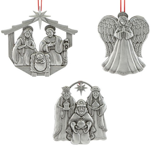 Reed & Barton Nativity in Creche Ornaments 2017 - Set of 3 - Available from SilverGallery.com