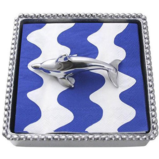 Mariposa Dolphin Napkin Box - Available from SilverGallery.com