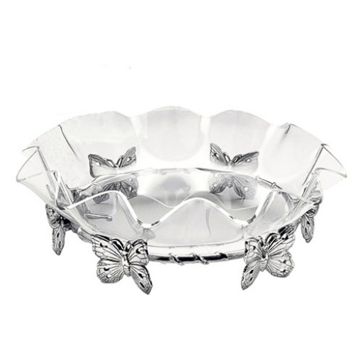"""Arthur Court Butterfly Stand w/16"""" Acrylic Bowl"""