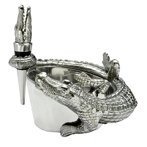 Arthur Court Alligator Wine Caddy & Stopper Set