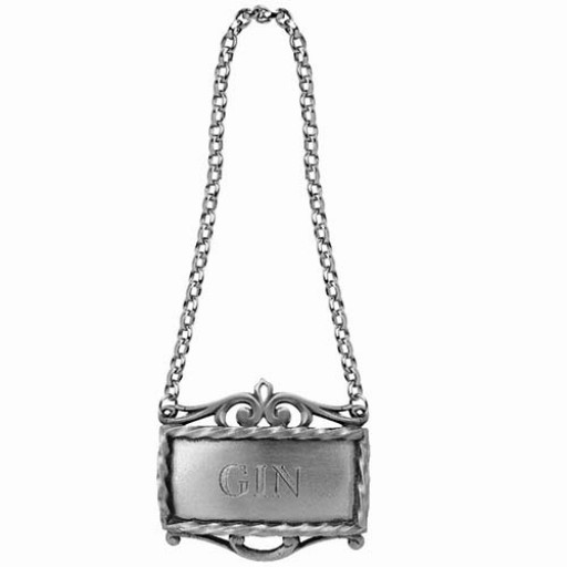 Salisbury Pewter Decanter Label - Gin - Available from SilverGallery.com
