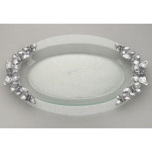 Arthur Court Butterfly Glass Platter