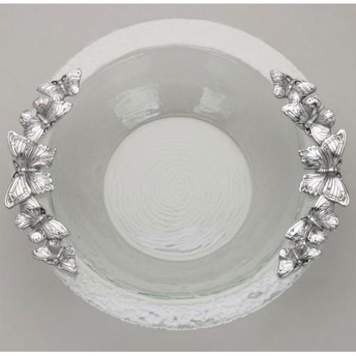 Arthur Court Butterfly Glass Salad Bowl