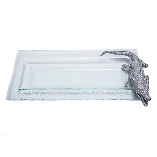 Arthur Court Alligator Glass Oblong Tray