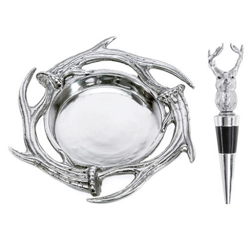 Arthur Court Antler Wine Coaster & Stopper Set
