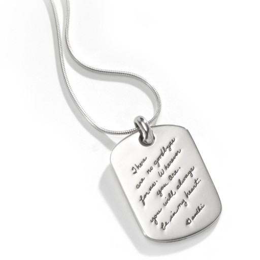Bb becker no goodbyes personal sterling silver dog tag pendant wchain aloadofball Images