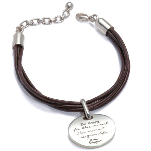 """BB Becker """"This Moment"""" Brown Leather Bracelet w/Silver Amulet"""