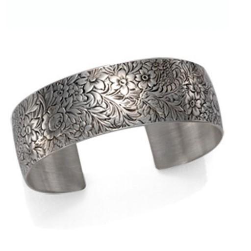 Victorian Bouquet Sterling Silver Cuff Bracelet