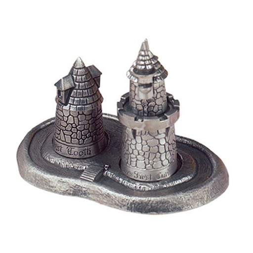 Salisbury Baby's First Tooth & Curl Pewter Castle Set