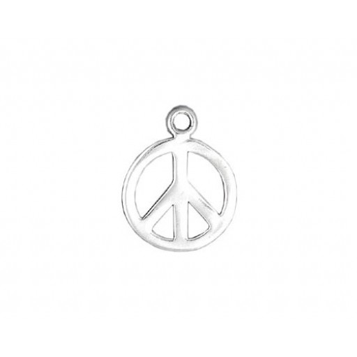 Sterling Silver Peace Sign Charm