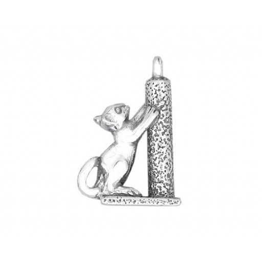 Sterling Silver Cat Scratching Charm