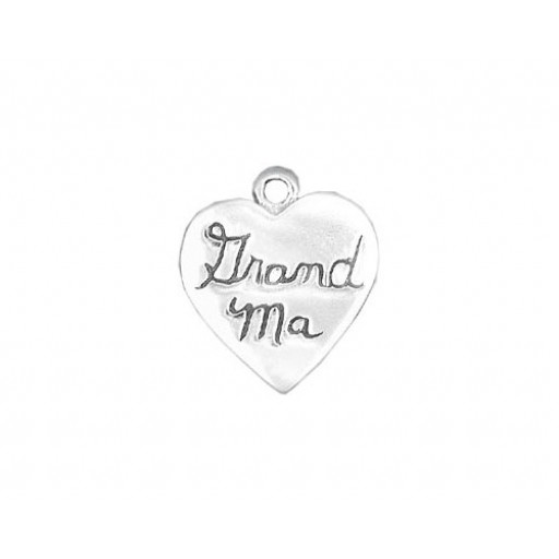 Sterling Silver Grand Ma Heart Charm