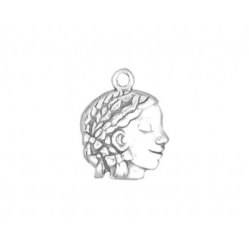 Sterling Silver African American Girl Charm