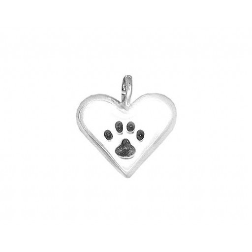 Sterling Silver Pawprints on your Heart Charm