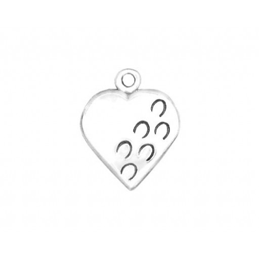 Sterling Silver Hoofprints Heart Charm