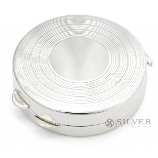 Sterling Silver Raised Engine Turned Pill Box