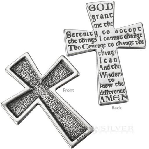 Sterling Silver Touchstone Cross - Serenity Prayer