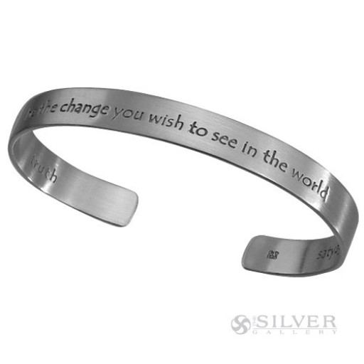 "Sterling Silver Cuff Bracelet - Gandhi ""Be the Change"