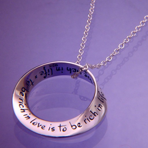 Sterling Silver Mobius Necklace - To Be Rich In Love