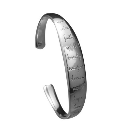 Sterling Silver Domed Cuff Bracelet - Imagine
