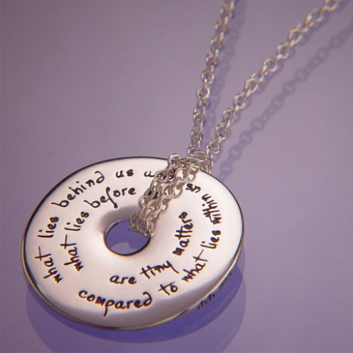 Sterling Silver Quote Necklace - What Lies Behind Us