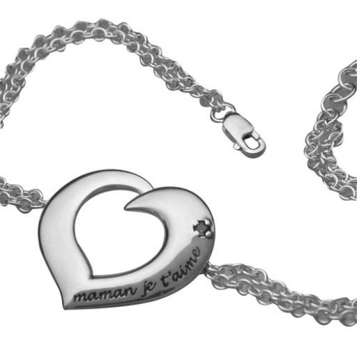 Sterling Silver Chain Bracelet w/Garnet - Mom I Love You