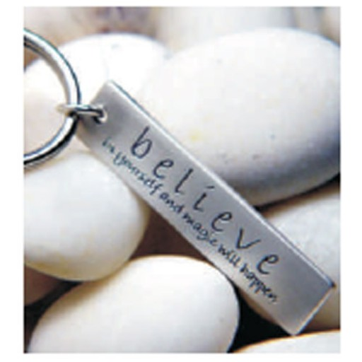 Sterling Silver Quote Keychain Believe In Yourself
