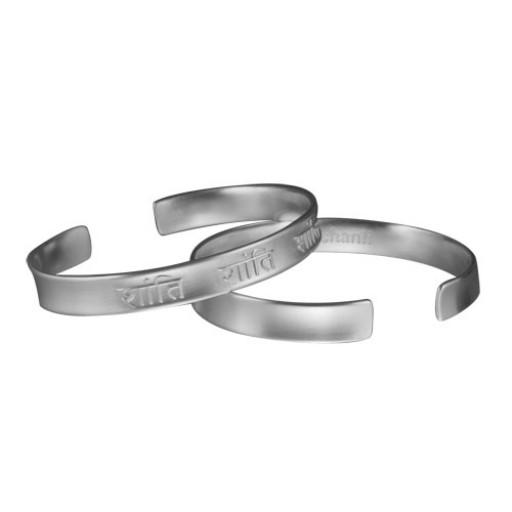 "Sterling Silver Cuff Bracelet - Sanskrit ""Peace"