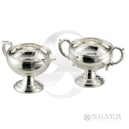 Empire Sterling Silver Plain Border Sugar & Creamer Set