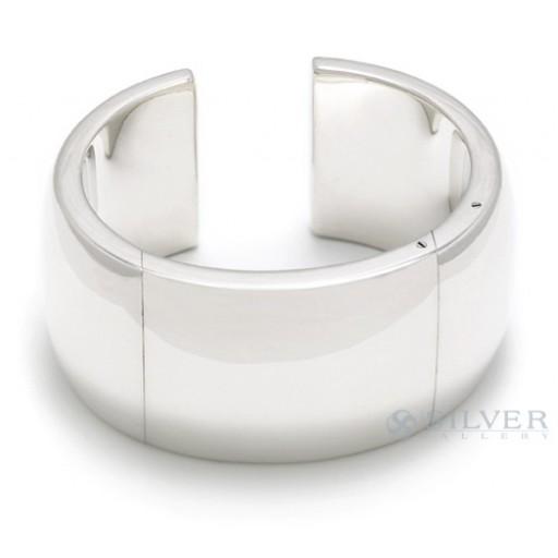 "Sterling Silver 1 1/4"" Hinged Cuff Bracelet"